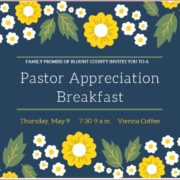 Thank you for attending the Pastor Appreciation Breakfast  at Vienna Coffeehouse!